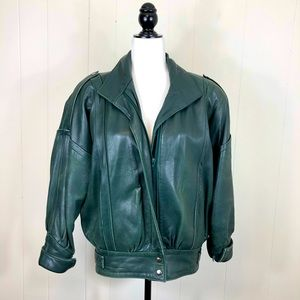 Vintage The Old Mill Leather Bomber Jacket Sz L
